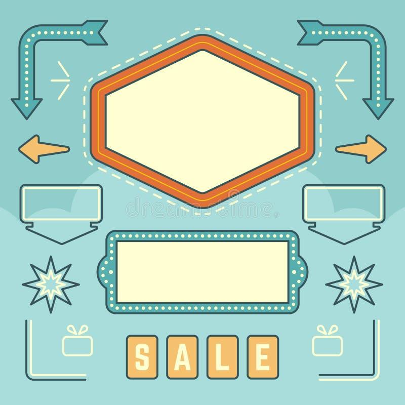 Sistema de elementos americano retro del diseño de la muestra de los años 50 stock de ilustración