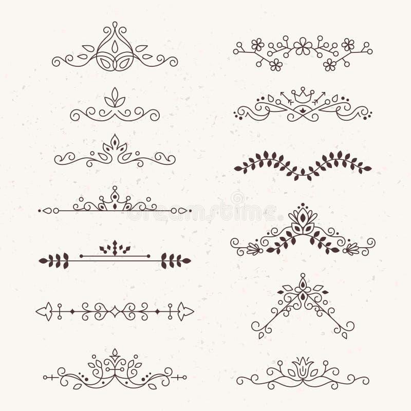 Sistema de elementos caligráficos del diseño stock de ilustración