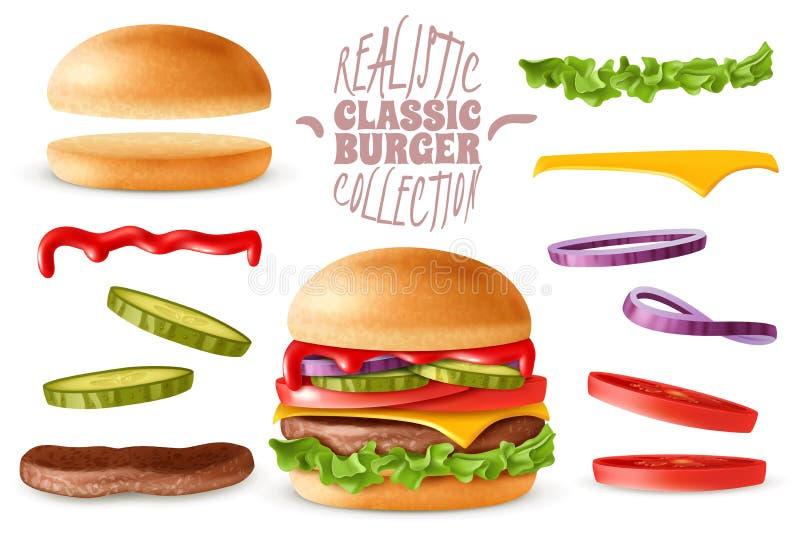 Sistema de elementos clásico realista de la hamburguesa ilustración del vector