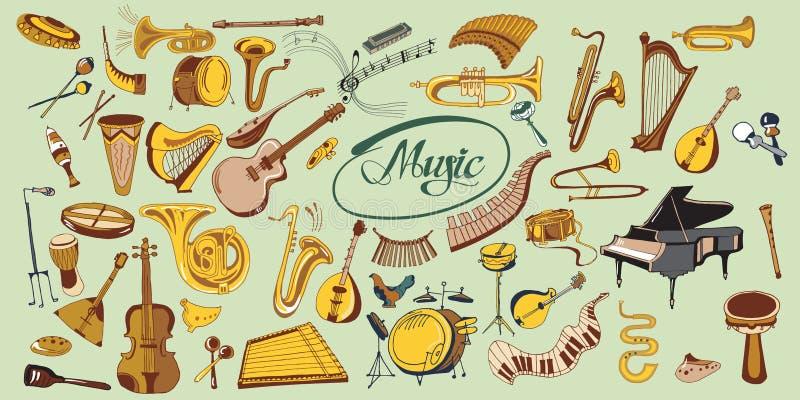 Sistema de elementos colorido de la música del garabato libre illustration