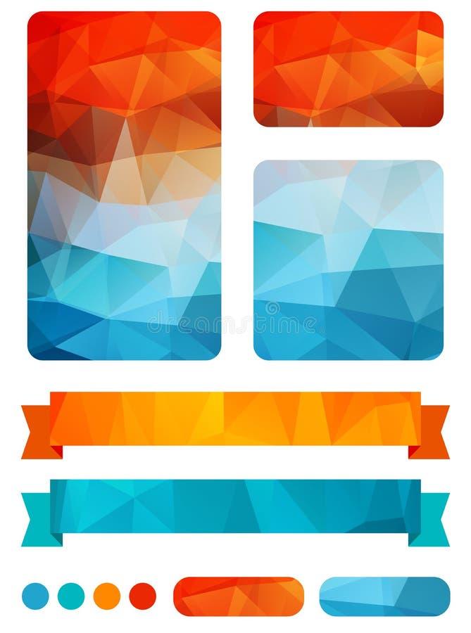 Sistema de elementos coloridos del diseño stock de ilustración