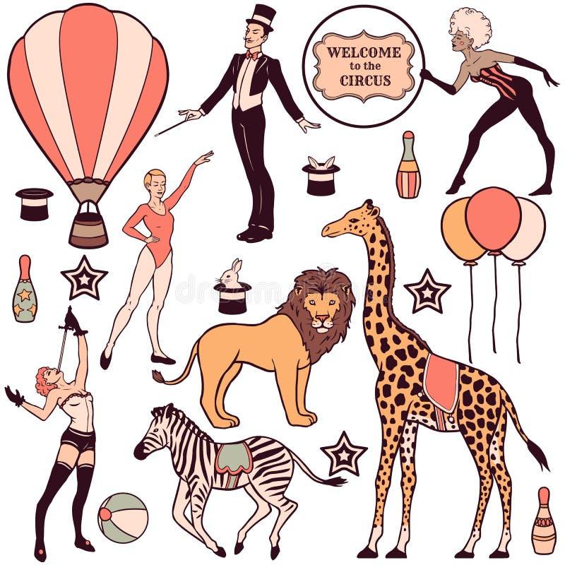 Sistema de elementos, de gente, de animales y de decoraciones del circo libre illustration