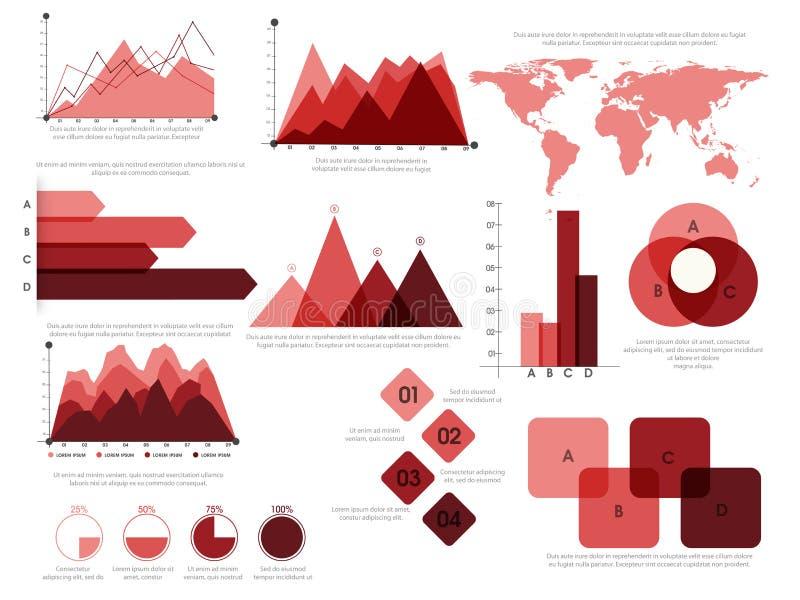 Sistema de elementos de Infographic del negocio stock de ilustración