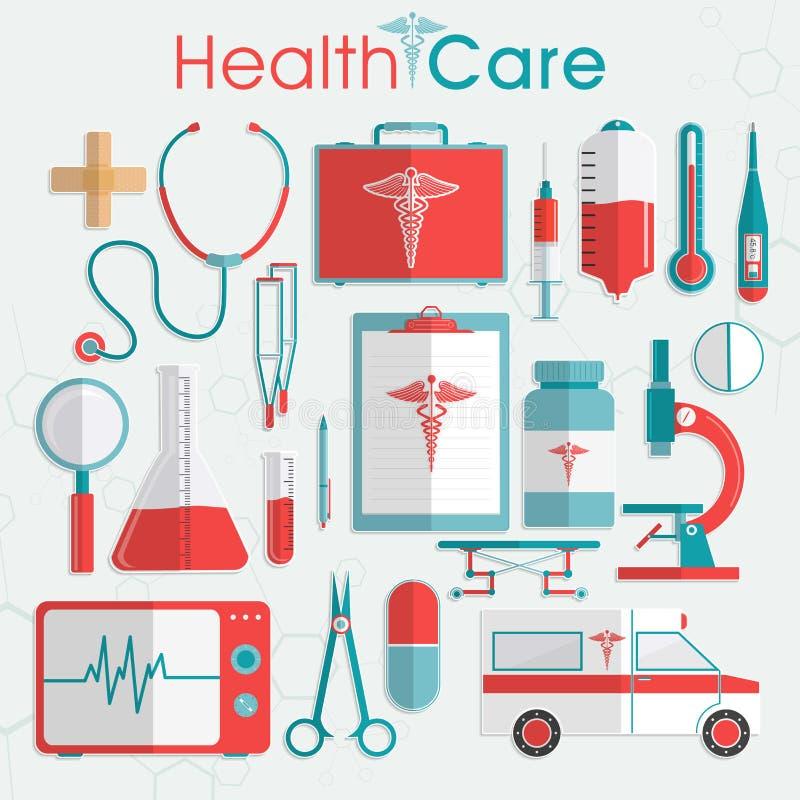 Sistema de elementos de la atención sanitaria libre illustration