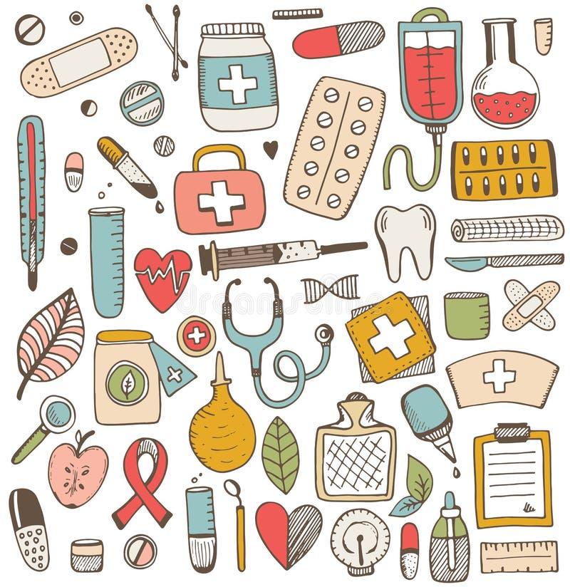 Sistema de elementos de la atención sanitaria y de la medicina libre illustration