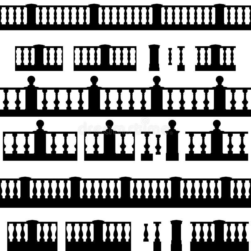 Sistema de elementos de la barandilla ilustración del vector