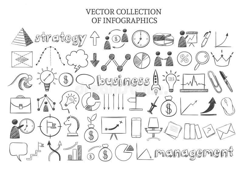 Sistema de elementos de la estrategia empresarial de Infographic ilustración del vector