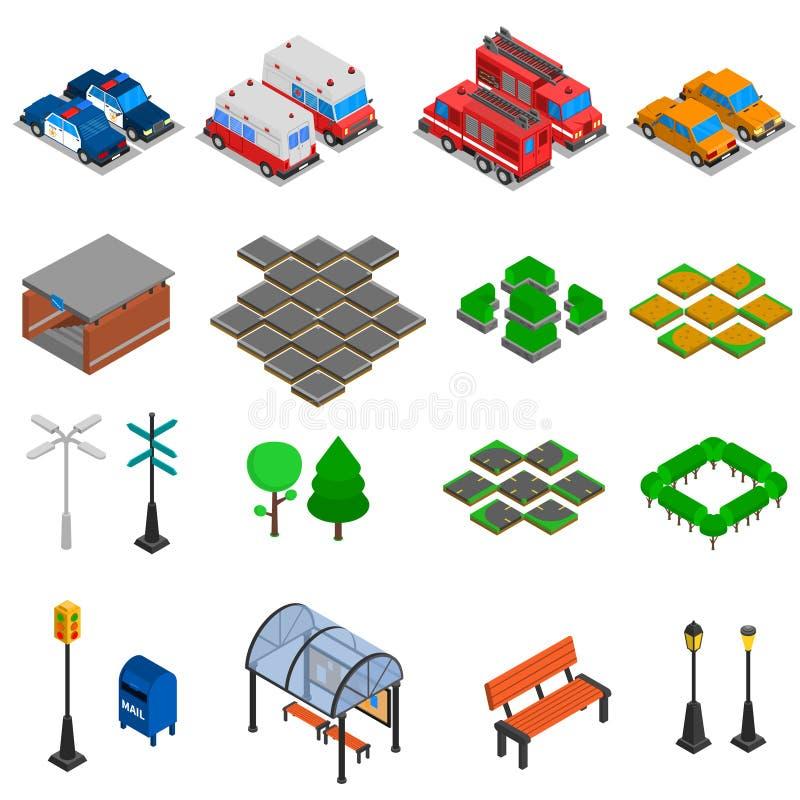 Sistema de elementos de la infraestructura de la ciudad libre illustration