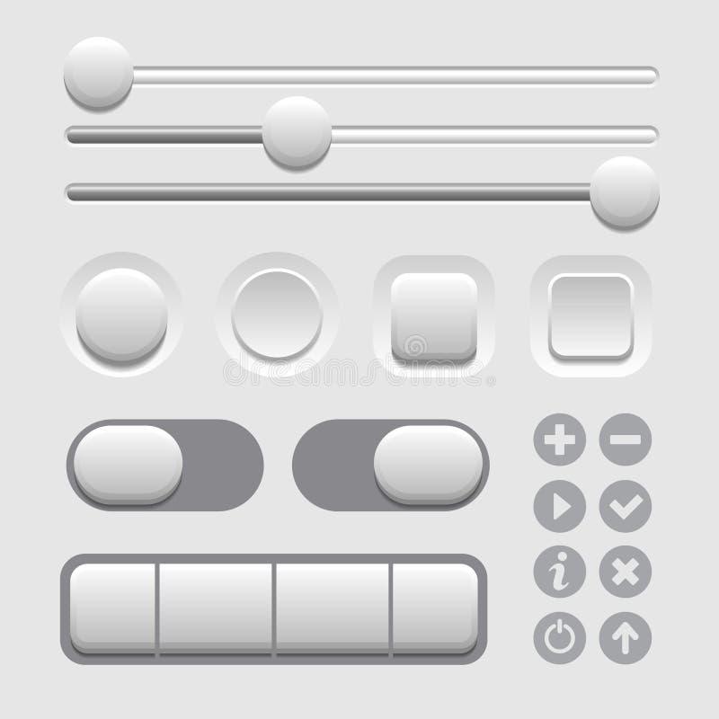Sistema de elementos de la interfaz de usuario en antecedentes ligeros. Vector ilustración del vector