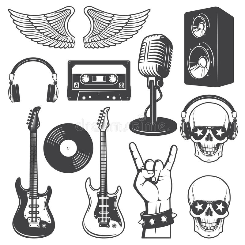 Sistema de elementos de la música del rock-and-roll ilustración del vector