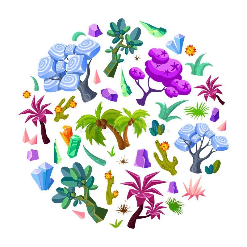 Sistema de elementos de la naturaleza del diseño de juego stock de ilustración
