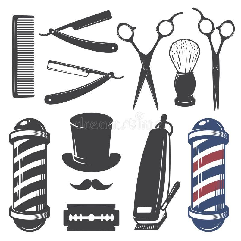 Sistema de elementos de la peluquería de caballeros del vintage imagen de archivo libre de regalías