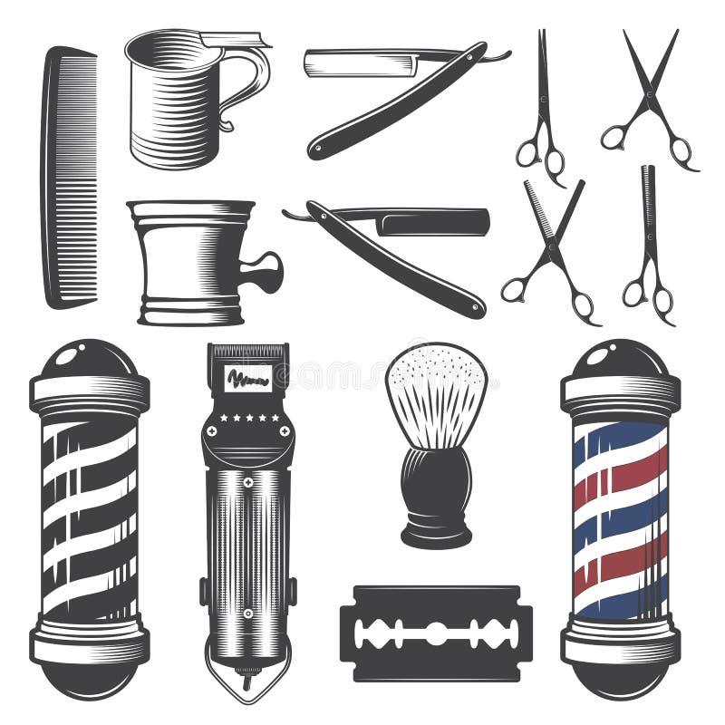 Sistema de elementos de la peluquería de caballeros del vintage ilustración del vector