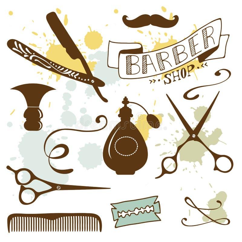 Sistema de elementos de la peluquería de caballeros y del peluquero del vintage stock de ilustración