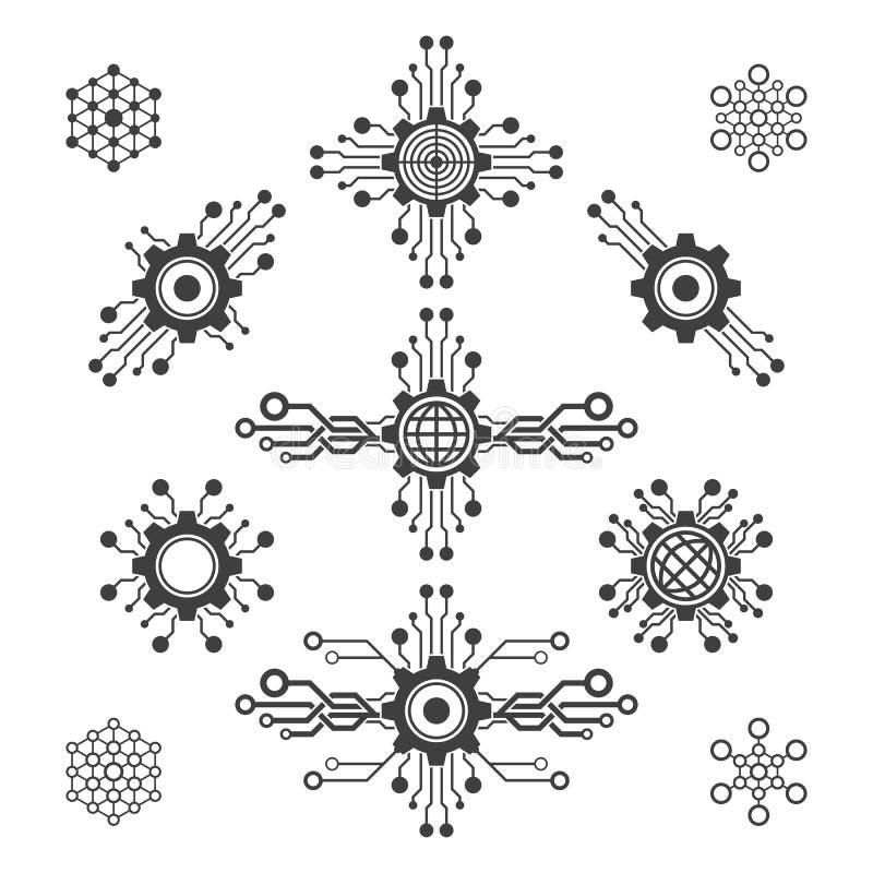 Sistema de elementos de la tecnología stock de ilustración