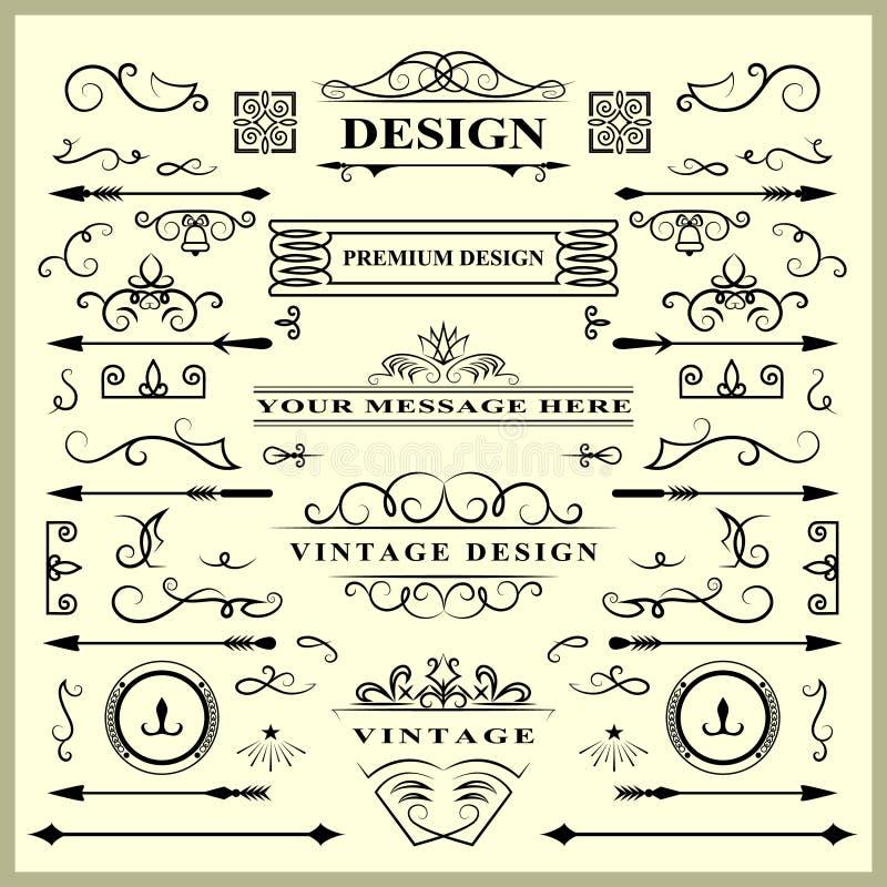 Sistema de elementos de las decoraciones del vintage Ornamentos y marcos caligráficos de los Flourishes Colección retra del diseñ ilustración del vector