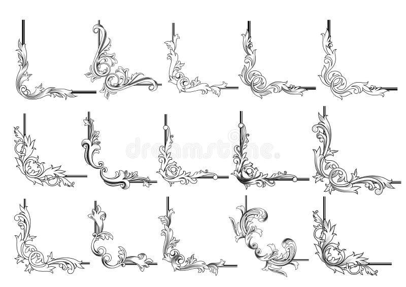 Sistema de elementos de las esquinas y de las ilustraciones de la frontera stock de ilustración