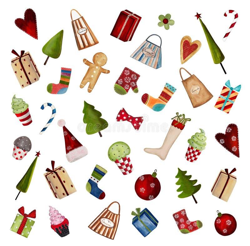 Sistema De Elementos Decorativos De La Navidad Foto de archivo