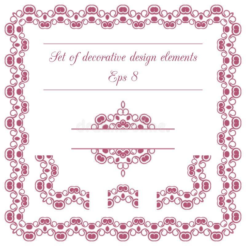 Sistema de elementos decorativos del diseño ilustración del vector