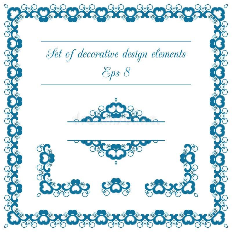 Sistema de elementos decorativos del diseño stock de ilustración