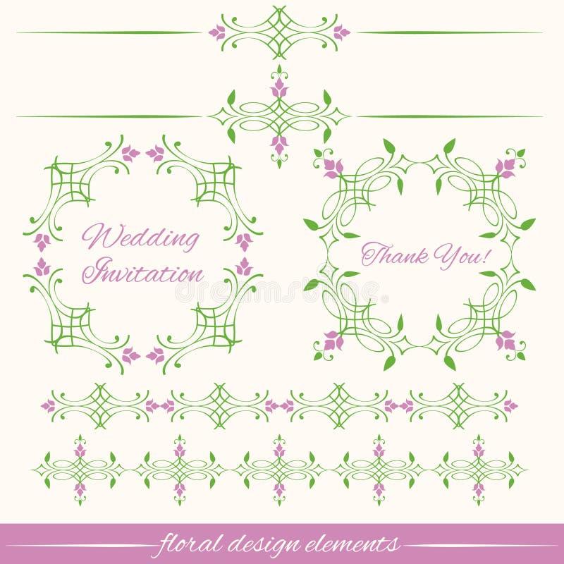 Sistema de elementos decorativos del diseño floral del vintage stock de ilustración