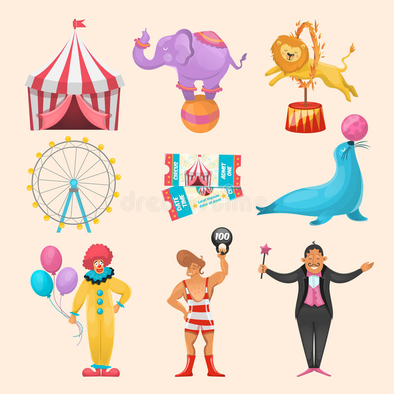 Sistema de elementos del carácter del circo ilustración del vector