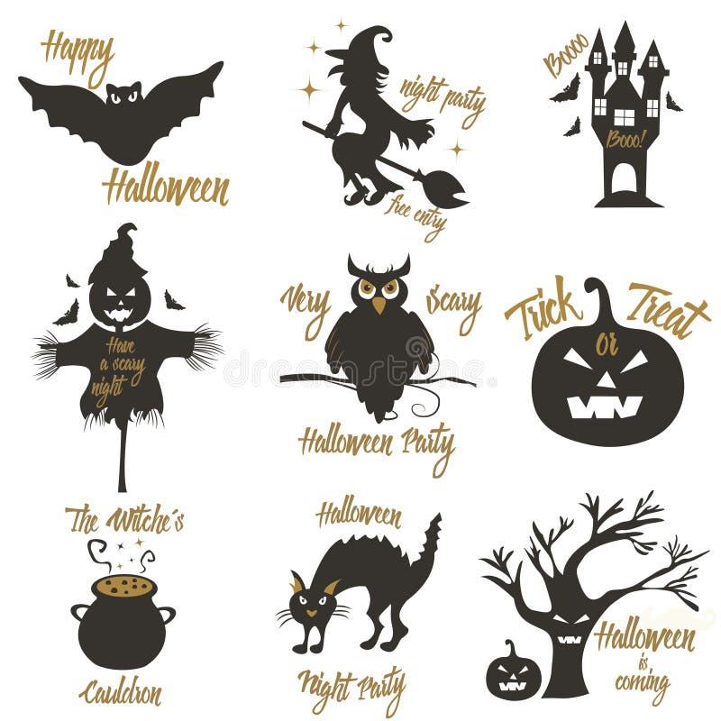Sistema de elementos del concepto y del diseño del partido de Halloween Concepto para la impresión, camisa, sello, insignia libre illustration