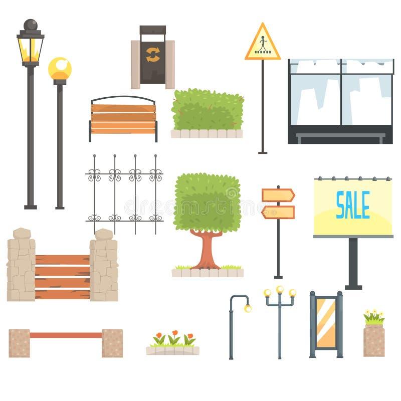 Sistema de elementos del constructor del paisaje urbano en el diseño geométrico de la historieta linda, plantillas del diseño del ilustración del vector
