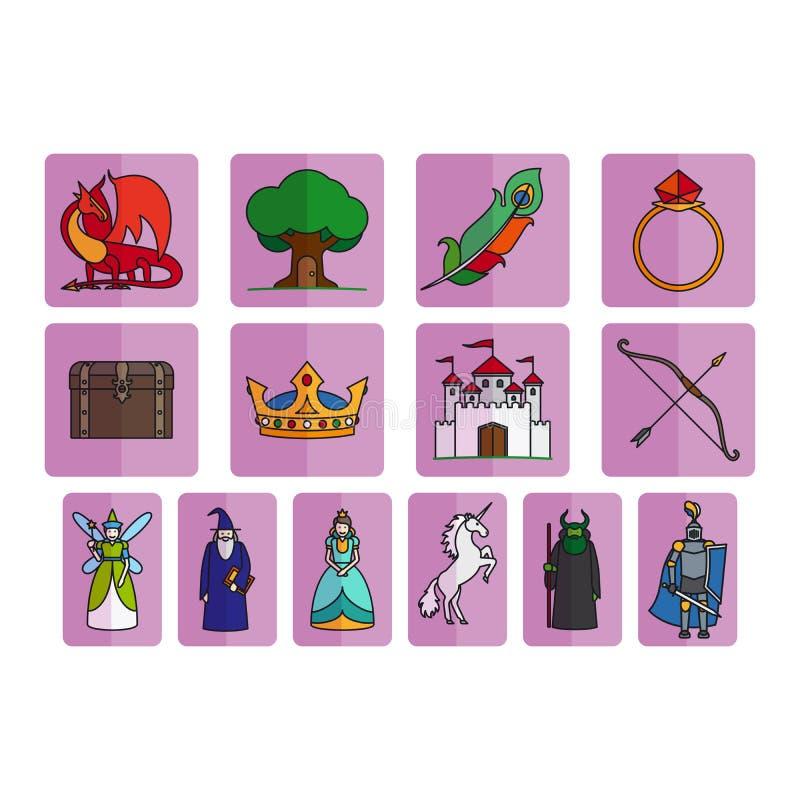 Sistema de elementos del cuento de hadas libre illustration