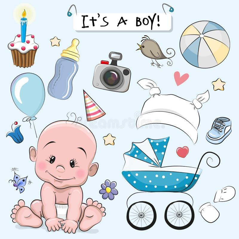 Sistema de elementos del diseño del bebé ilustración del vector