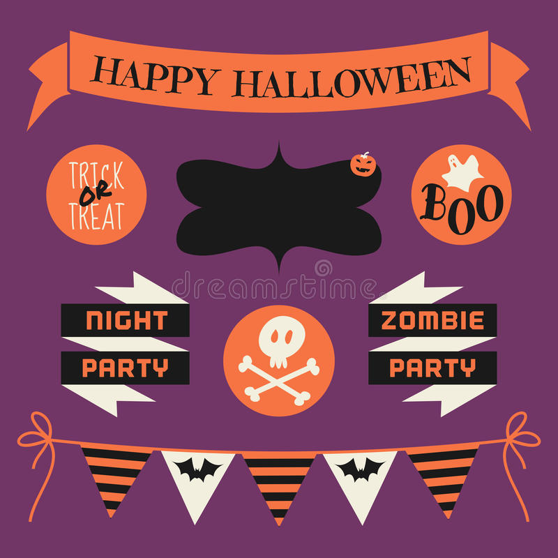 Sistema de elementos del diseño de Halloween ilustración del vector