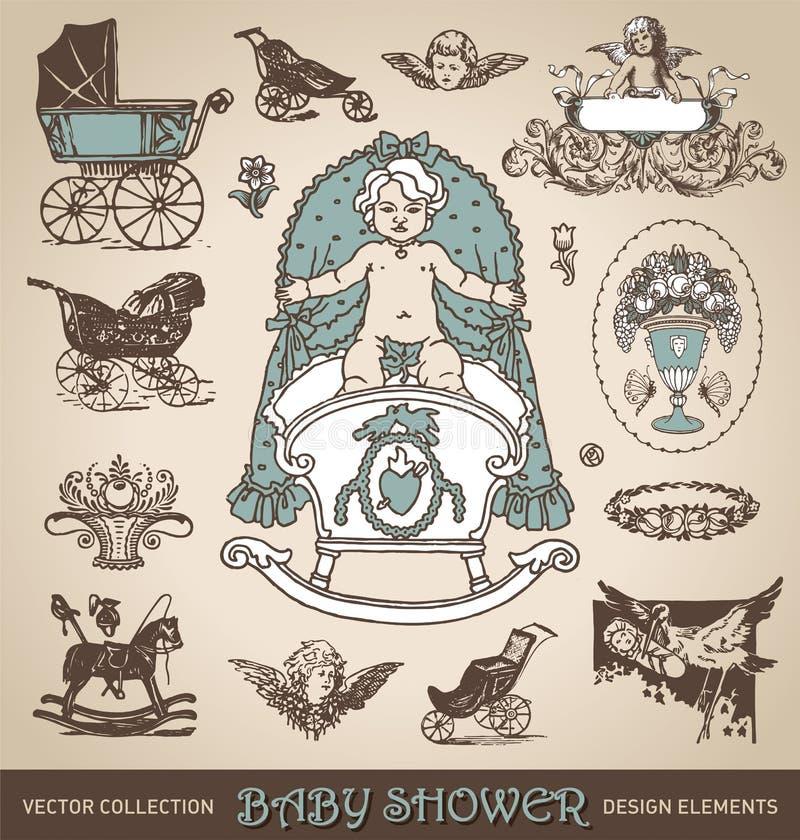 Sistema de elementos del diseño de la antigüedad de la fiesta de bienvenida al bebé () ilustración del vector