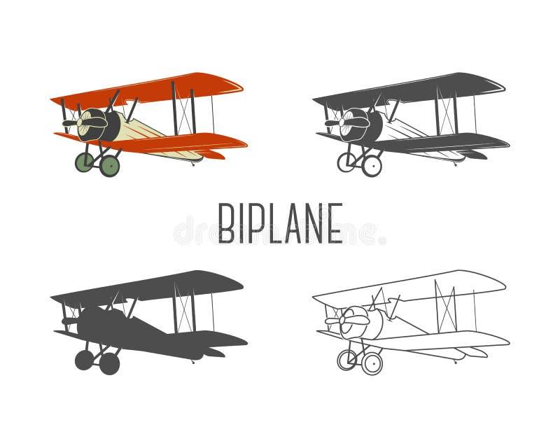 Sistema de elementos del diseño de los aviones del vintage Los biplanos retros en el color, línea, silueta, monocromo diseñan Sím ilustración del vector