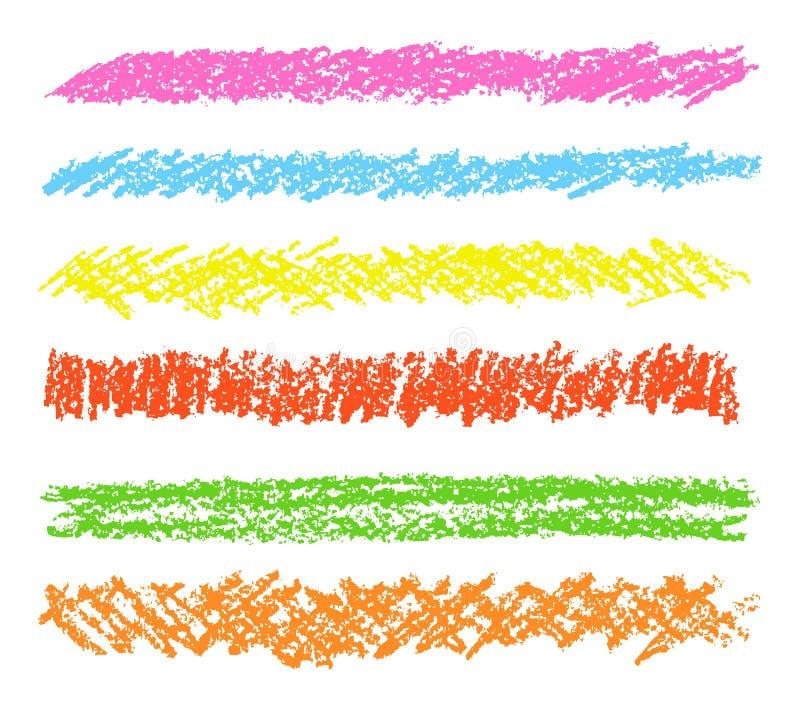 Sistema de elementos del diseño del dibujo de la mano del creyón de cera ilustración del vector