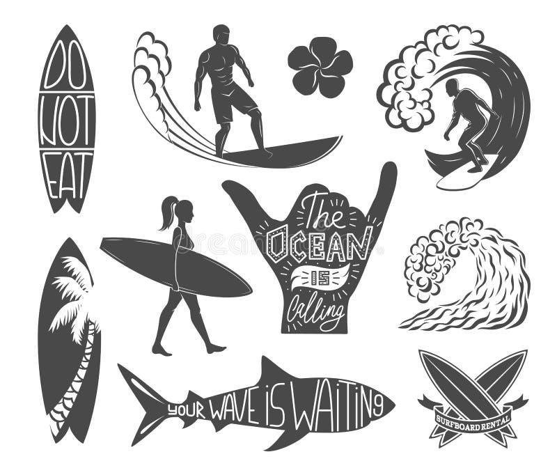 Sistema de elementos del diseño del vintage que practican surf Ejemplo del vector del logotipo de la resaca Logotipos de la tabla stock de ilustración