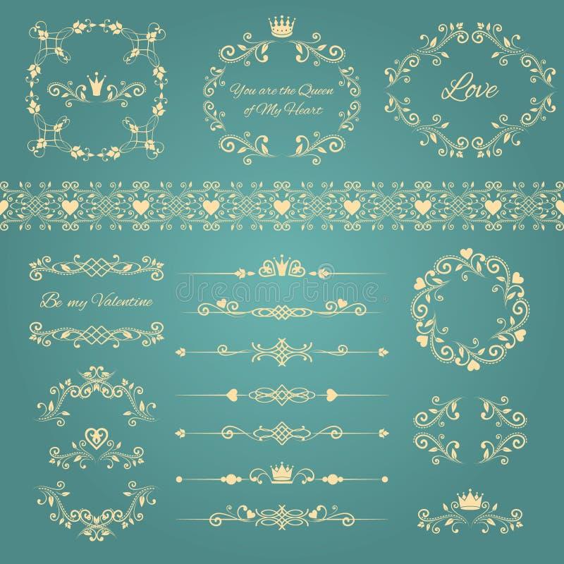 Sistema de elementos del diseño floral con los marcos ornamentales del vintage con las coronas y los corazones ilustración del vector