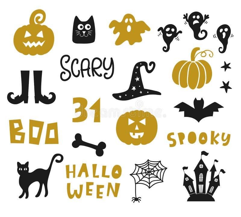Sistema de elementos del diseño de Halloween libre illustration