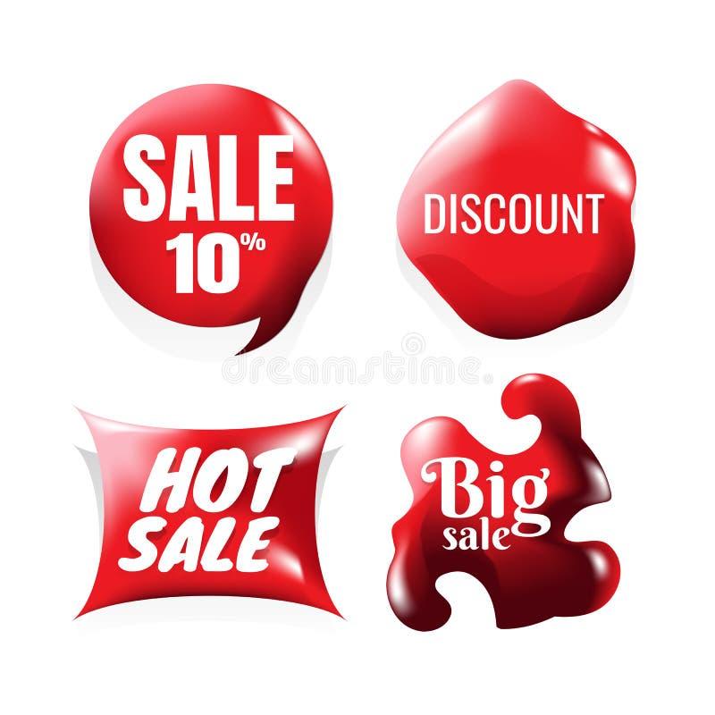 Sistema de elementos del diseño de la venta, rojo, vector, iconos Etiquetas engomadas redondas de la venta en el fondo blanco ilustración del vector