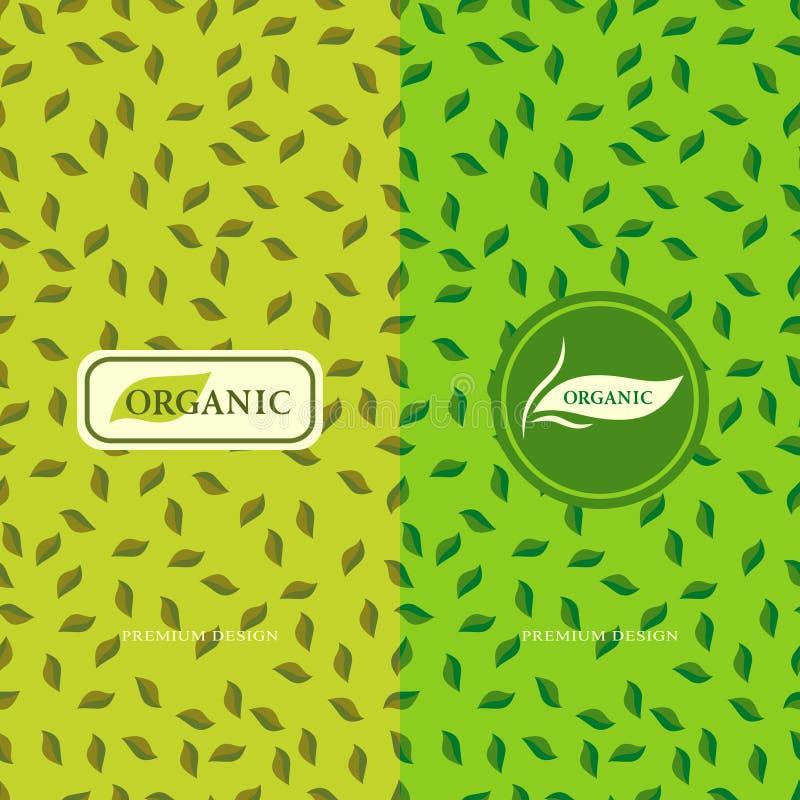 Sistema de elementos del diseño, plantilla agraciada del logotipo Fondo inconsútil para orgánico, sano, acondicionamiento del mod ilustración del vector