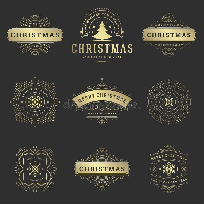 Sistema de elementos del diseño del vector de las etiquetas y de las insignias de la Navidad foto de archivo