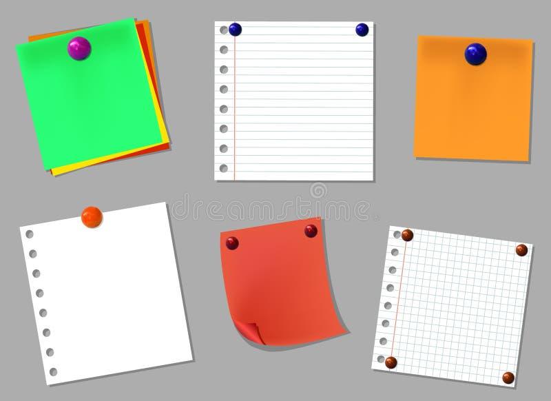 Sistema de elementos del diseño del VECTOR: páginas del cuaderno con los botones realistas del perno stock de ilustración
