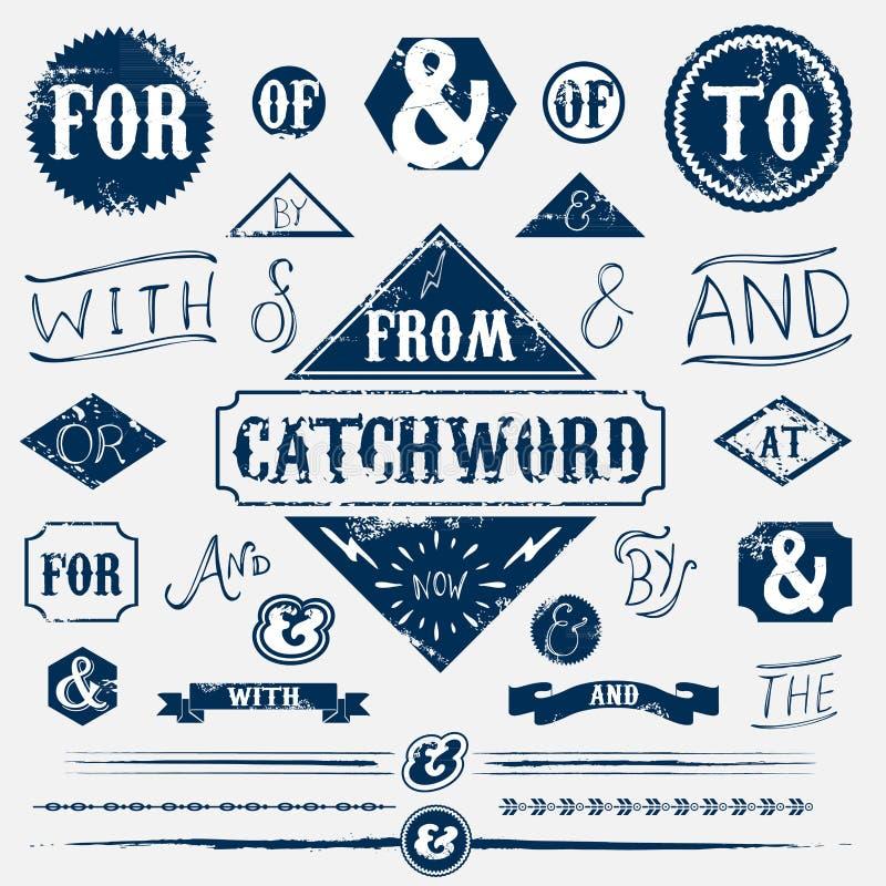 Sistema de elementos del diseño y lema del vintage ilustración del vector