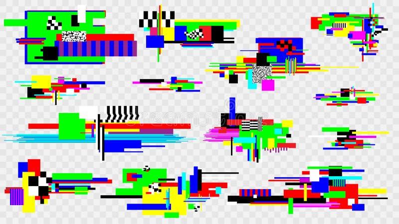 Sistema de elementos del efecto de la interferencia Elementos del diseño del error del ruido del pixel pantalla da?ada Modelo del ilustración del vector
