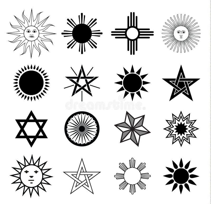 Sistema de elementos del escudo de armas de Sun, ejemplo del vector libre illustration