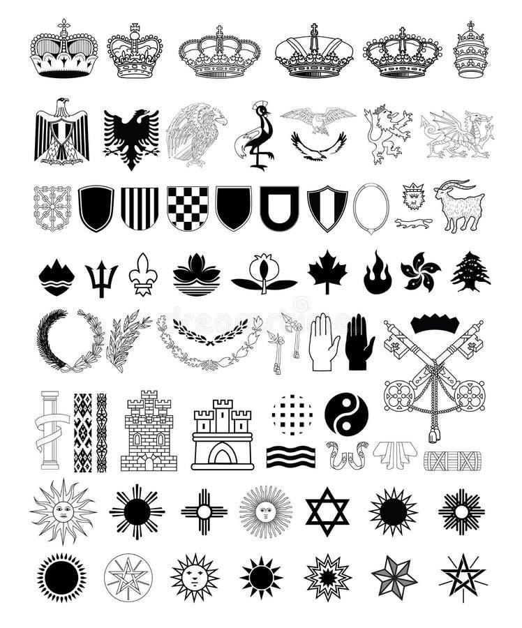 Sistema de elementos del escudo de armas, ejemplo del vector stock de ilustración