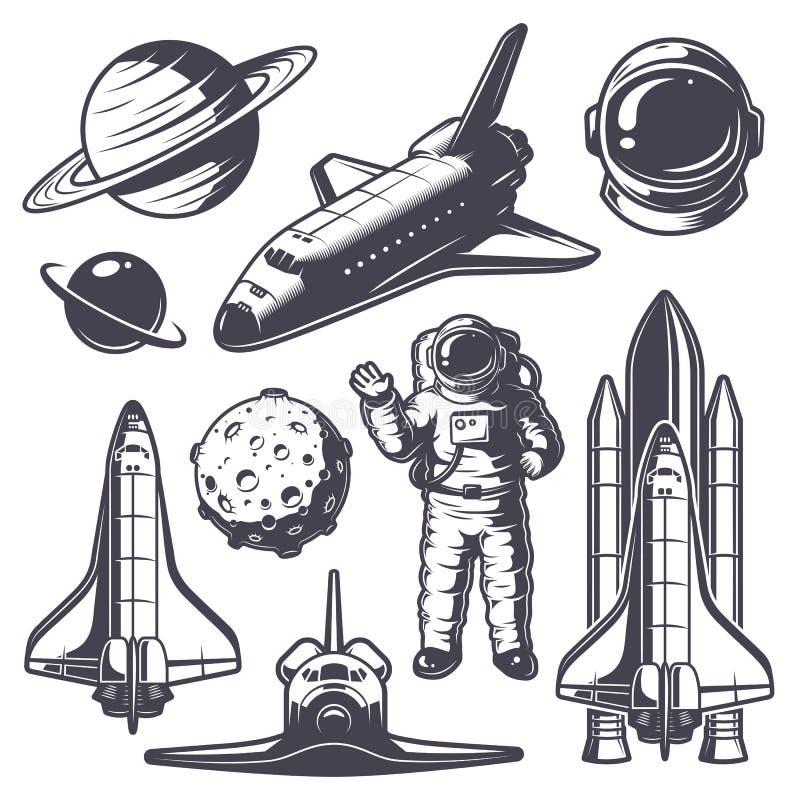 Sistema de elementos del espacio del vintage stock de ilustración
