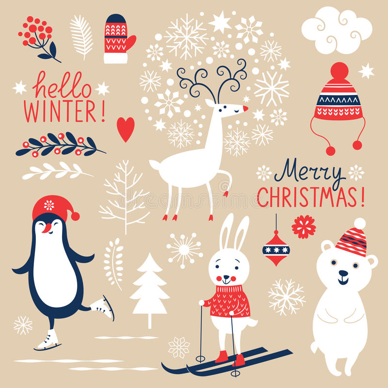 Sistema de elementos del gráfico de la Navidad stock de ilustración