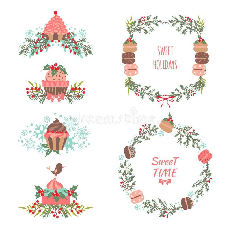 Sistema de elementos del gráfico de la Navidad y del Año Nuevo stock de ilustración