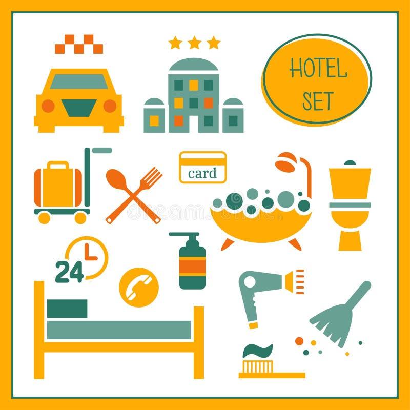 Sistema de elementos del hotel stock de ilustración