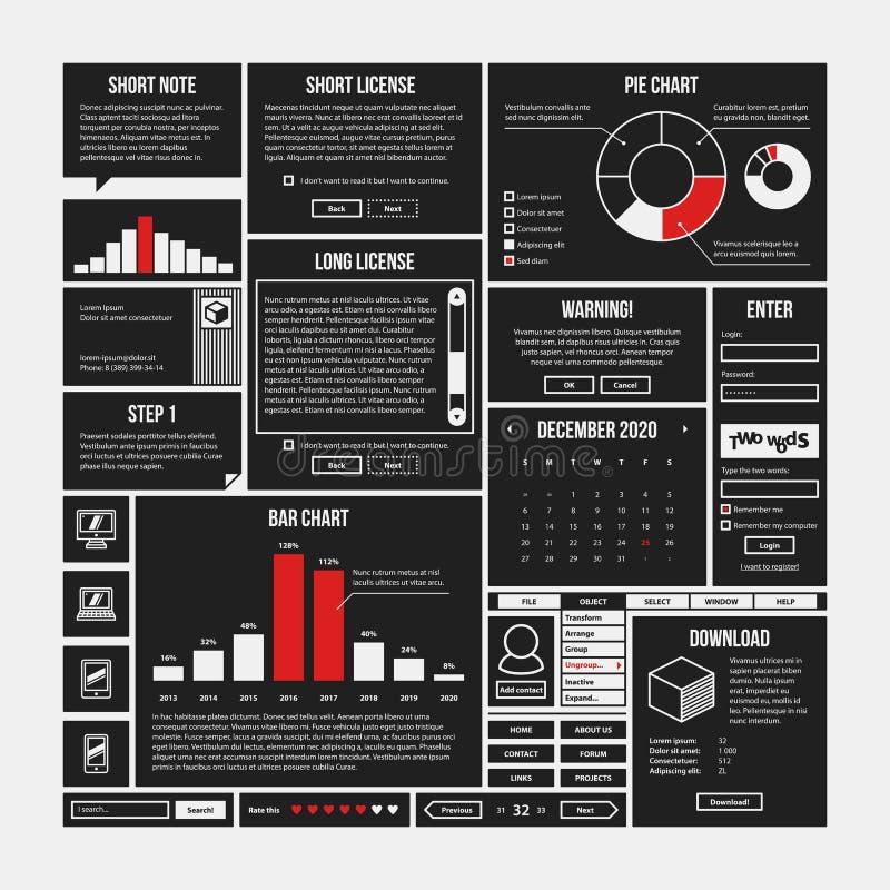 Sistema de elementos del infographics y del interfaz en estilo simple del esquema libre illustration